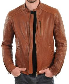 New Men's Genuine Lambskin Leather Jacket Tan Slim fit Motorcycle jacket #AriesLeathers #Motorcycle
