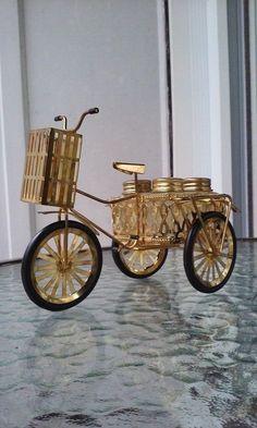 Three Wheel Metal Bicycle 5pc Salt Pepper Shaker Basket W/ Toothpick Basket