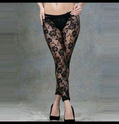 4b8ab9d3b2188 1980s PLUS SIZE Fancy Lace Leggings 80s Disco Accessory Madonna UK SIZES  8-24 #