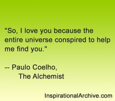 Paulo Coelho quote on love from The Alchemist