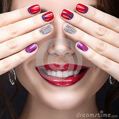 Beautiful Girl Bright Evening Make Up Pink Manicure Rhinestones Nail Design Beauty Face Stock Photos, Images, & Pictures – (8 Images)