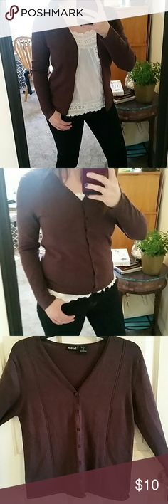 North Crest Dark Purple Cardigan M Super cute and comfortable cardigan. Picture looks brown but it's actually an eggplant purple. Size M (10-12) but fits an 8 as well (see picture)  some slight peeling (see picture)  Open to offers :) NorthCrest  Sweaters Cardigans