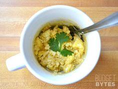 Hummus Breakfast Mug...microwave eggs to scramble + hummus...win-win!