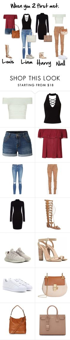 """When you 2 first met."" by ghappyg on Polyvore featuring Alexander McQueen, Miss Selfridge, LE3NO, Dex, Frame Denim, Balmain, Phase Eight, Vince Camuto, adidas Originals and adidas"