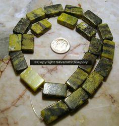 "15"" Yellow turquoise (jasper) 11/16 flat brick beads apprx 22pcs 18x11x5mm bs073 #Silversmithsupply #Necklace"