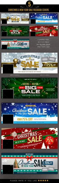 Christmas  New Year Sale Facebook Covers  Timeline Covers
