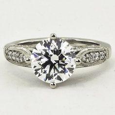 Platinum Heirloom Diamond Ring. Set with a 1.63 Carat, Round, Super Ideal Cut, E Color, VS1 Clarity Diamond. #BrilliantEarth