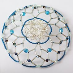 Peacock Blue and Silver Kippah with center filigree by bloombeads
