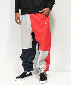 7d8409374b96 Champion Reverse Weave Colorblock Navy Sweatpants. Gym MenCool ShirtsElastic  ...