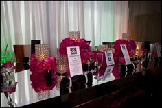 pink and black bridal shower decor