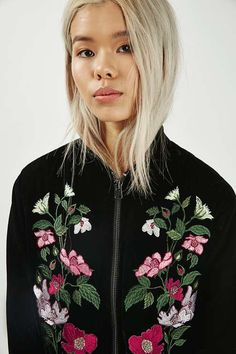 The bomber trend isn't slowing down - take the silhouette into the new season with this pretty embroidered style, with zip detailing and floral embroidery to the front. Pare-it-back with a simple tee and denim for casual-cool. #Topshop