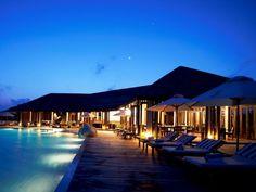 Hotel Exterior at 5 star hotel: Lily Beach Resort & Spa - All Inclusive. This hotel's address is: Huvahendhoo Island South Ari Atoll Maldives Islands and have 119 rooms Lily Beach Maldives, Maldives Vacation, Honeymoon Vacations, Maldives Resort, Resort Spa, All Inclusive Resorts, Beach Resorts, Hotels And Resorts, Aqua Pools