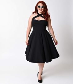 Unique Vintage Plus Size 1950s Style Black Rita Halter Flare Dress