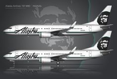 Alaska Airlines is one of my favorite air carriers, so I've been wanting to create a detailed side-view illustration of one of their for quite Alaska Airlines, Commercial Aircraft, Aviation, Comic Books, Boat, Traveling Tips, Helicopters, Side View, History