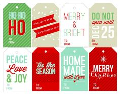 Free Printable Holiday Gift Tags on @Maria Canavello Mrasek (Two Peas and Their Pod)