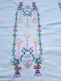 Large Christmas Tablecloth Hand Embroidered Vintage Christmas