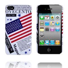 USA:n Lippu iPhone 4S Suojakuori (Valkoinen)