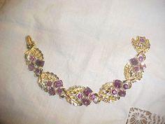 Vintage CORO Gold Tone Purple Rhinestone Bracelet  #CORO #Bracelet