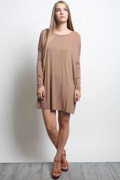 This is the extra length mocha piko tunic long sleeve dress. An all season favorite that will coordinate with leggings, jeggings, skinny jeans, pants or wear it