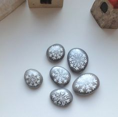 painted stones  ~  Snowflakes!