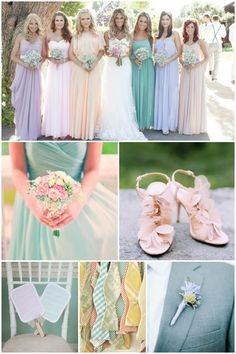 Pastel Wedding Ideas, Pastel Bridesmaid Dresses, Wedding Bouquets and Buttonholes