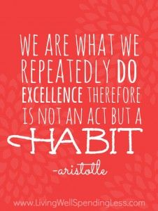 We are what we repeatedly do; excellence, therefore, is not an act but a habit. (Aristotle)