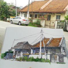 Luv the orange roof.   Saturday, 2 May 2015 Jalan Dato'Dalam, Johor  #urbansketchers #johorsketchers #klsketchnation #johor #watercolor #sketchdate | por Hafizal_Nordin