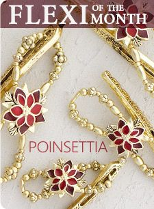POINSETTIA  #2660  Poinsettia makes her appearance in time for the Holiday Season. Enjoy the festive shades of red, along with the bright brass tones for a cheerful updo! Brass plated, enamel.