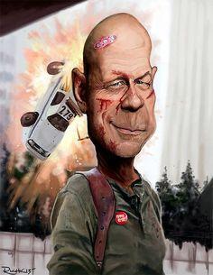 Caricatura de Bruce Willis en Jungla de cristal.