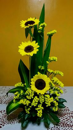 Sunflowers and Statices