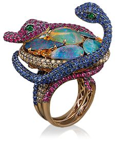 Wendy Yue Stacking Snake Ring  One of a kind Wendy Yue stackable snake ring featuring a unique combination of opals, pink and blue sapphires and diamonds set in 18-karat rose gold.     Cellini Jewelers