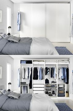 Wardrobes IKEA : PAX wardrobes Even behind closed doors, you can avoid closet clutter by making sure you have the right type of organization for your things. Bedroom Wardrobe, Wardrobe Closet, Home Bedroom, Wardrobe Storage, Pax Closet, Attic Closet, Ikea Bedroom, Bedroom Dressers, Wardrobe Doors