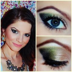 This shimmery look has shades of green and gold with luscious lashes to add. Check out the products used for this look.