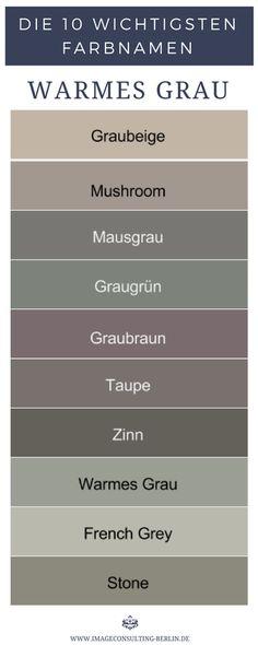 Warme Grautöne sind Graubeige, Mushroom, Mausgrau, Graugrün, Graubraun, Taupe, Zinn, Warmes Grau, French Grey, Stone