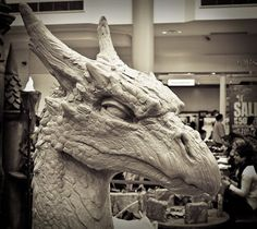 Weta Workshop Dragon sculpture exhibit by legendary sculptor Kim Graham.