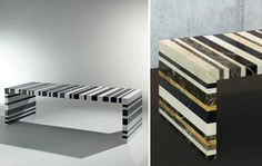 """""""Barcode"""", a table by Germany's <a href=""""http://www.draenert.de""""target=""""_blank"""">Draenert</a> is made of natural stone waste. Here are two types. Hidden from view, the ingenious subconstruction. Photo: Draenert"""