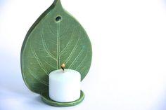 Leaf Ceramic Votive Candle Holder handmade by ProdigalPottery Slab Pottery, Ceramic Pottery, Pottery Art, Ceramic Art, Art Clay, Clay Wall Art, Pinterest Diy Crafts, Pottery Handbuilding, Candle Stand