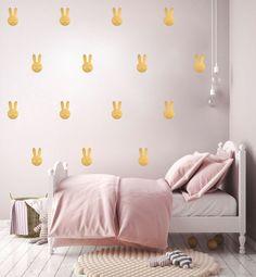 Stickers muraux lapins dorés Pom le bonhomme