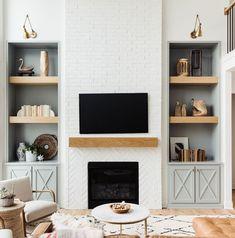 Fireplace Built Ins, Home Fireplace, Fireplace Remodel, Fireplace Design, Brick Fireplace, Fireplace With Bookshelves, Fireplaces, Fireplace With Cabinets, Blue Bookshelves