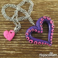 Tentacle Heart Necklace by rapscalliondesign. Via Etsy. Kick ass idea, I want to make one ^.^