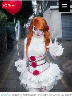 Easy Movie Character Costumes Female – 2018 Halloween Costumes – Halloween Costumes, Make Up and Halloween Clown, Pennywise Halloween Costume, Halloween Noir, Halloween Makeup Looks, Halloween Costumes For Girls, Couple Halloween, Girl Costumes, Halloween 2018