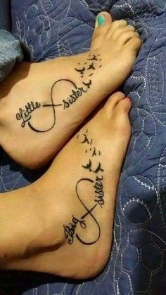 60 Cool Sister Tattoo Ideas to Express Your Sibling Love - Blurmark - Ravishing Big And Small Sister Infinity Tattoos On Foot With Birds - Bff Tattoos, Sibling Tattoos, Neue Tattoos, Friend Tattoos, Great Tattoos, Sleeve Tattoos, Tatoos, Tattoo Quotes, Form Tattoo