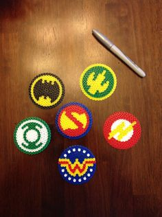 DC comics justice league perler bead coasters/ornaments/medallions Batman, superman, aqua man, Wonder Woman, green lantern, flash