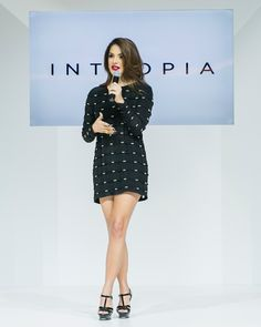 Hilda Khalife speaking on stage at Intropia's 1st store opening in Dubai in Mall of the Emirates. Intropia - Spanish fashion brand brought to Dubai by Majid Al Futtaim Fashion. @GCADubai team was involved in Event Management and PR. www.gc.agency