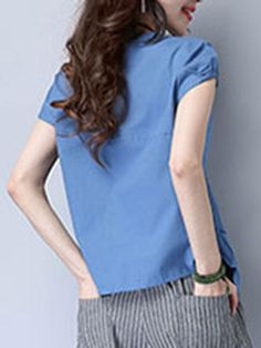 Round Neck Single Breasted Plain Short Sleeve T-Shirt Cheap Blouses, Cheap T Shirts, Shirt Blouses, Blouses For Women, Two Piece Rompers, Short Sleeves, Short Sleeve Dresses, Sleeve Pattern, Blouse Styles