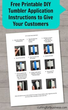 Free, printable DIY tumbler application instructions to give to customers in…
