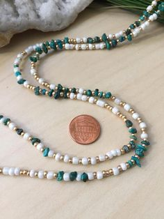 Long Turquoise and Seed bead necklace White and Gold wrap bracelet adjustable length Boho Gypsy Style Layering skinny necklace raw gemstone Beaded Jewelry, Beaded Bracelets, Embroidery Bracelets, Diy Jewelry, Jewelry Accessories, Jewelry Design, Seed Bead Necklace, Seed Beads, Raw Gemstones