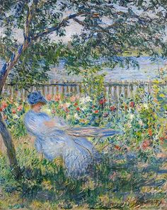 monet claude la terrasse a vetheuil 1881 (from <a… Monet Paintings, Paintings I Love, Beautiful Paintings, Landscape Paintings, Claude Monet, Post Impressionism, Impressionist Paintings, Artist Monet, Gustav Klimt