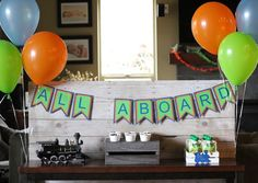 """""""All Aboard"""" banner from Vintage Classic Train Themed Birthday Party at Kara's Party Ideas."""