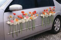 Yes, flowers can go just about anywhere. This would be perfect as your getaway car after the ceremony. Church Wedding Decorations, Flower Decorations, Deco Floral, Floral Design, Wedding Getaway Car, Car Wedding, Floral Wedding, Wedding Flowers, Bridal Car